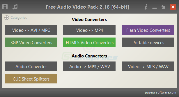 screen capture of Pazera Free Audio Video Pack