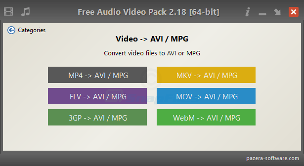 screenshot of Pazera Free Audio Video Pack