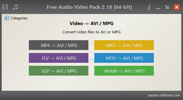 screenshot of Pazera Free Audio Video Pack