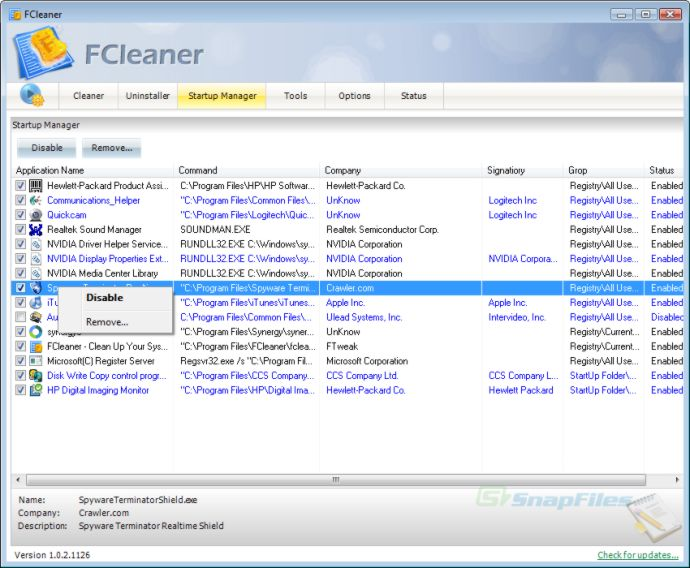 screenshot of FCleaner