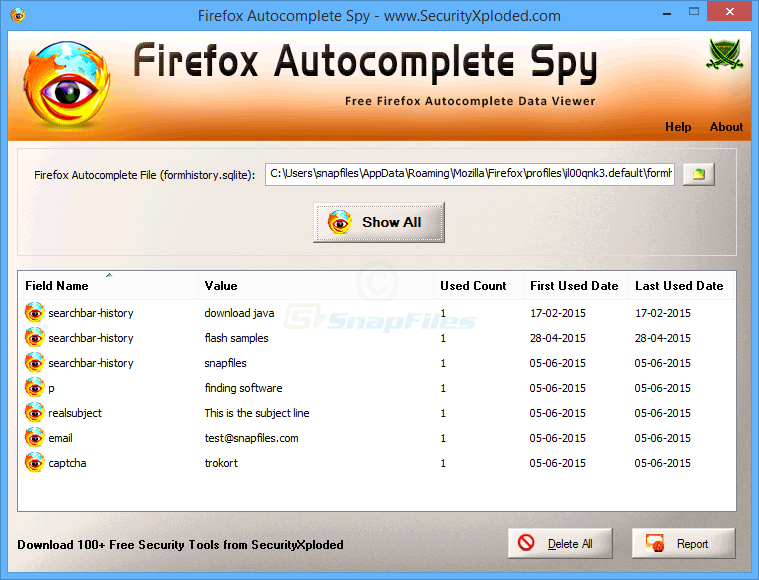 screen capture of Firefox Autocomplete Spy