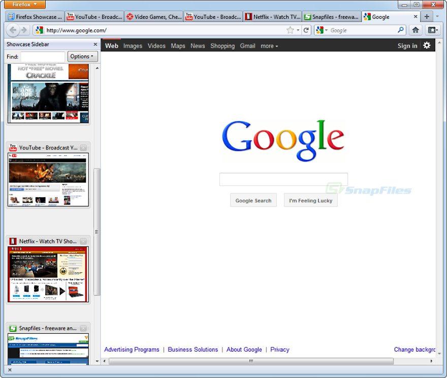 Firefox Showcase screenshot and download at SnapFiles com