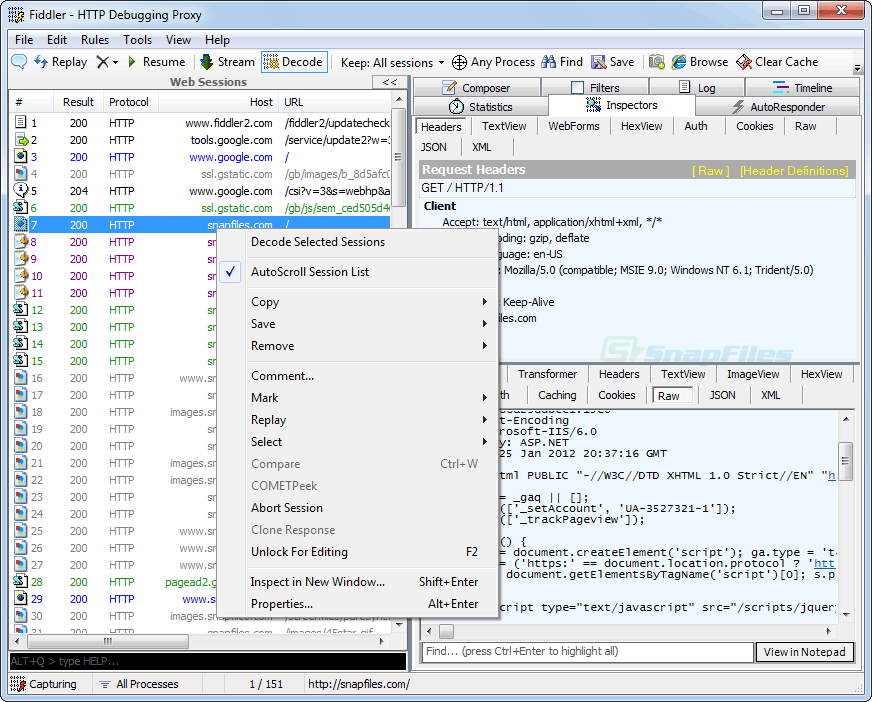 screenshot of Fiddler