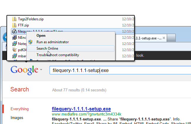 screen capture of FileQuery
