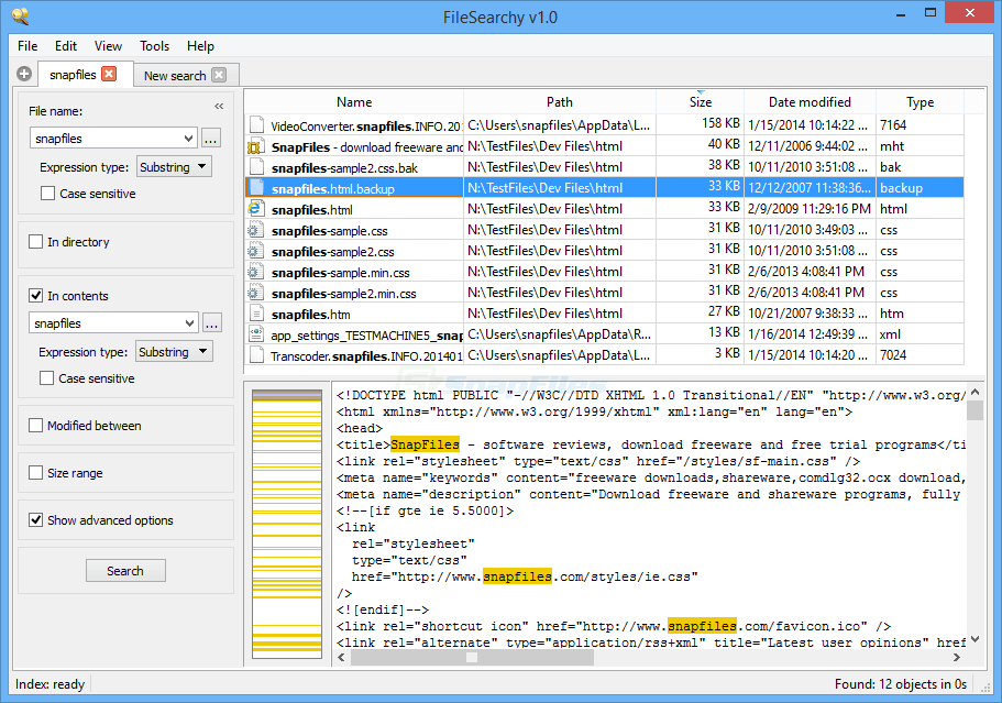 screenshot of FileSearchy