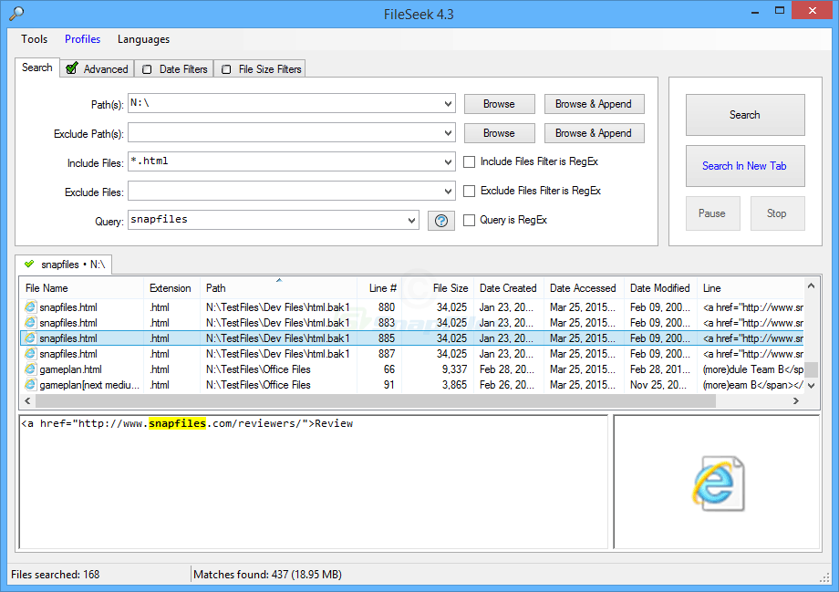 screen capture of FileSeek