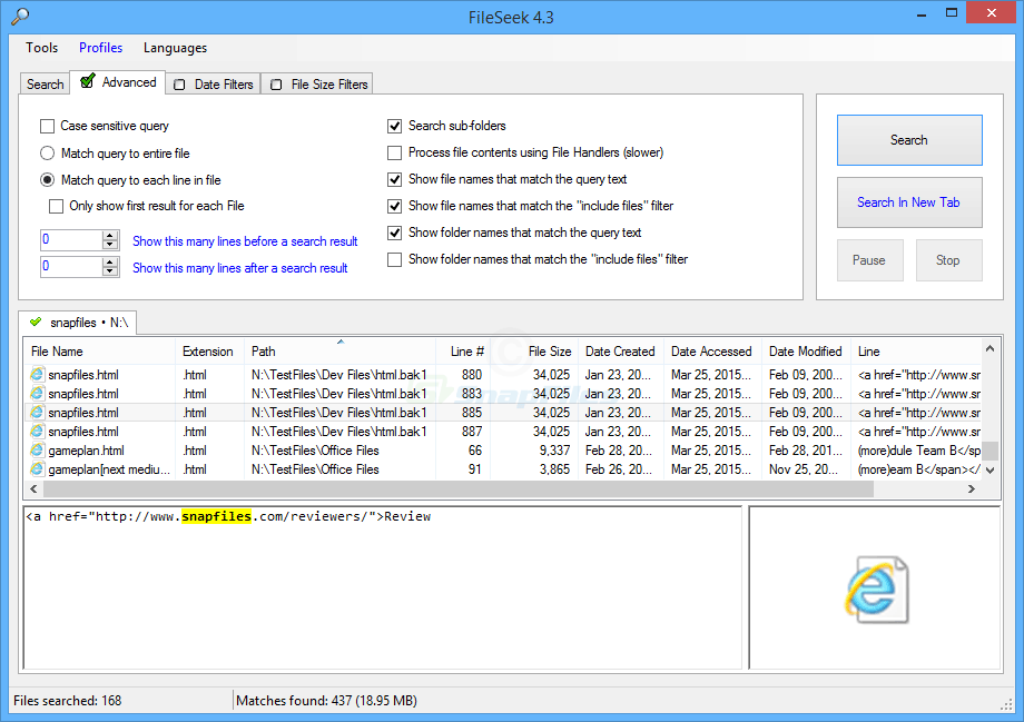 screenshot of FileSeek