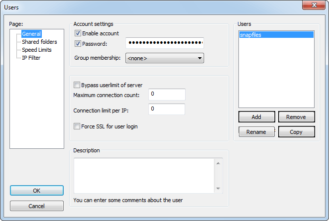 screenshot of FileZilla Server