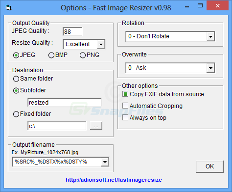 screen capture of Fast Image Resizer