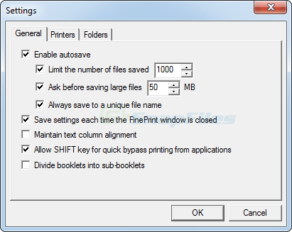 screenshot of FinePrint