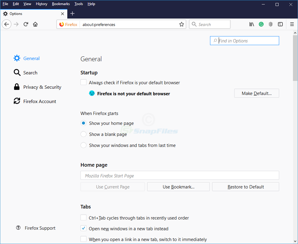 screenshot of Firefox (Quantum)