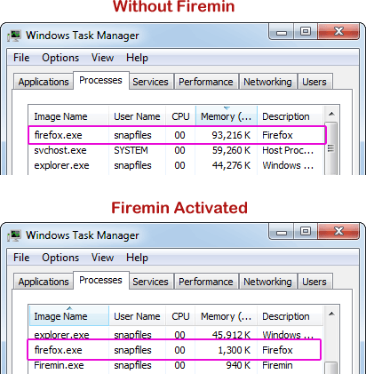 screenshot of Firemin