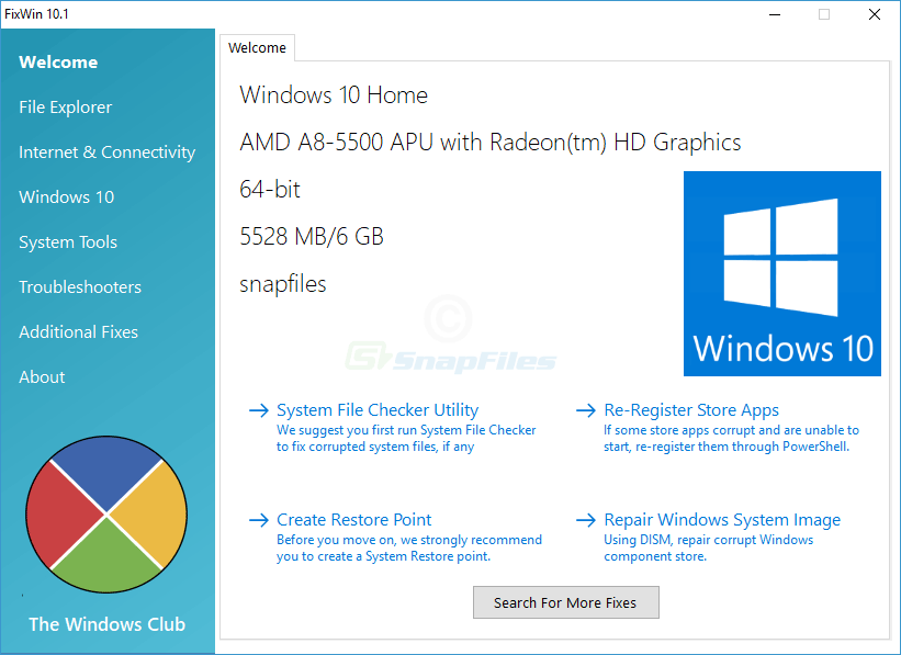screen capture of FixWin