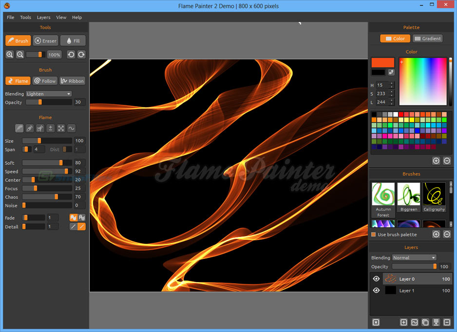 screen capture of Flame Painter