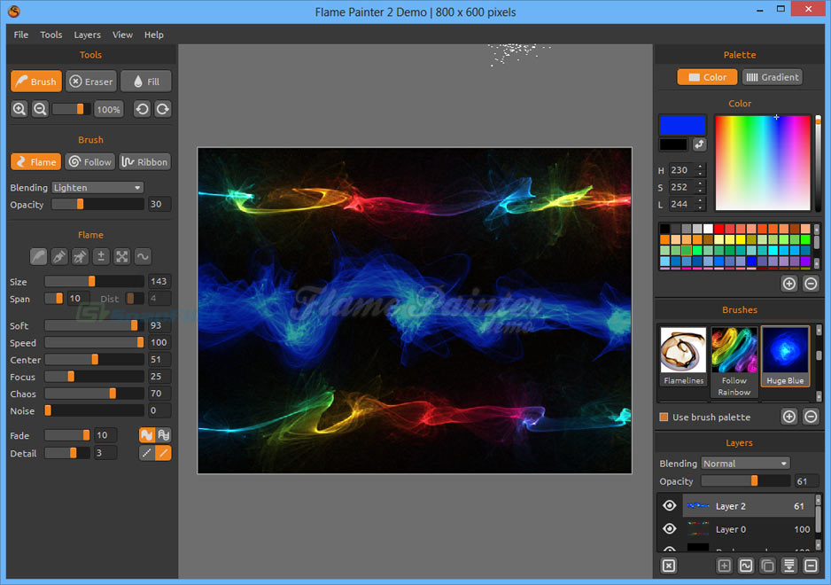 screenshot of Flame Painter