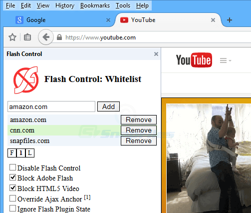 screenshot of Flash Control