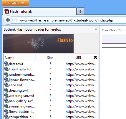 screen capture of Flash Downloader for Firefox