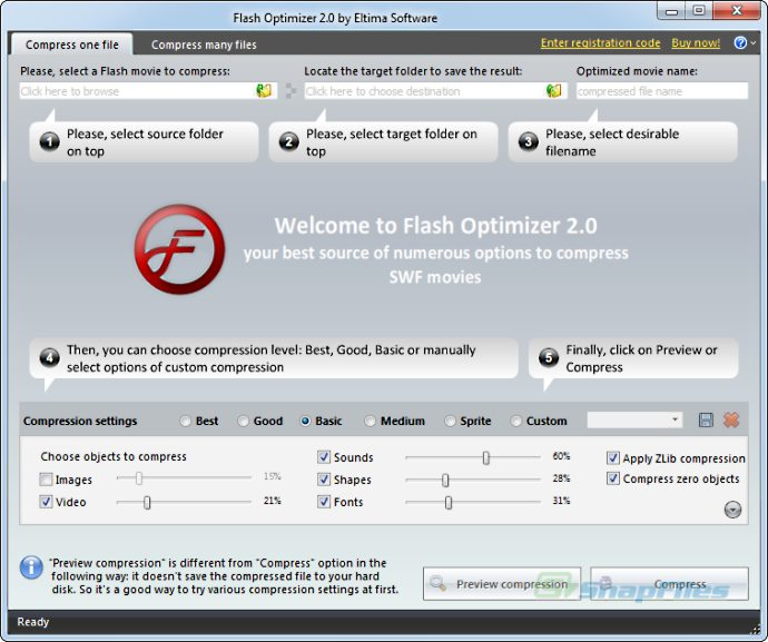 screen capture of Flash Optimizer