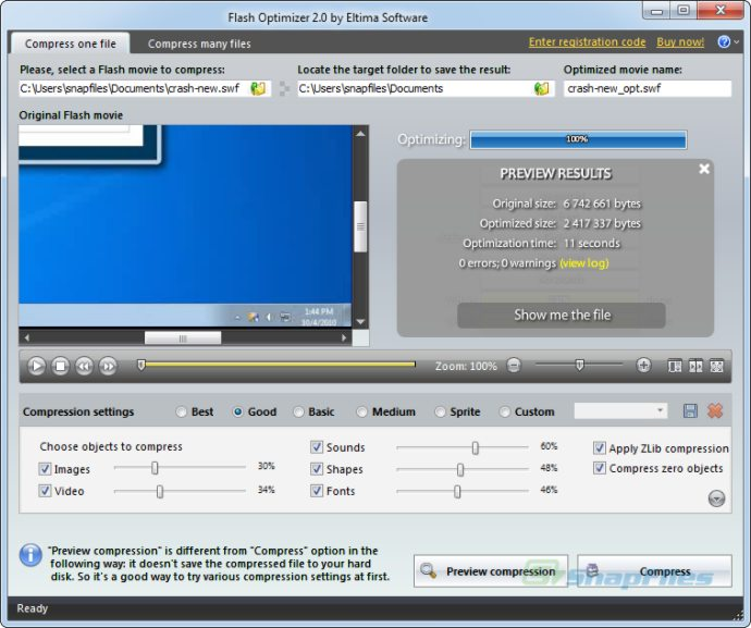 screenshot of Flash Optimizer