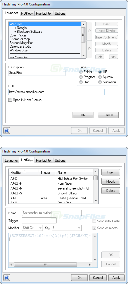 screenshot of FlashTray