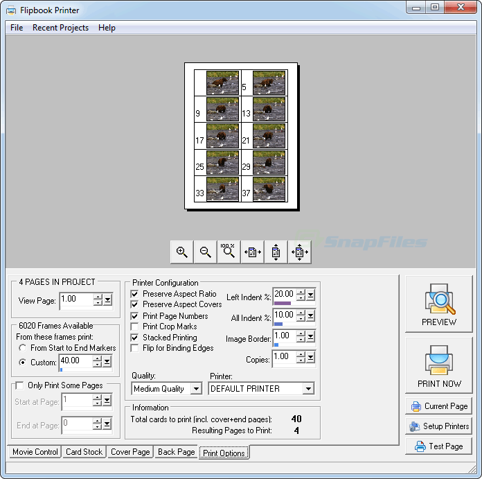 screenshot of Flipbook Printer