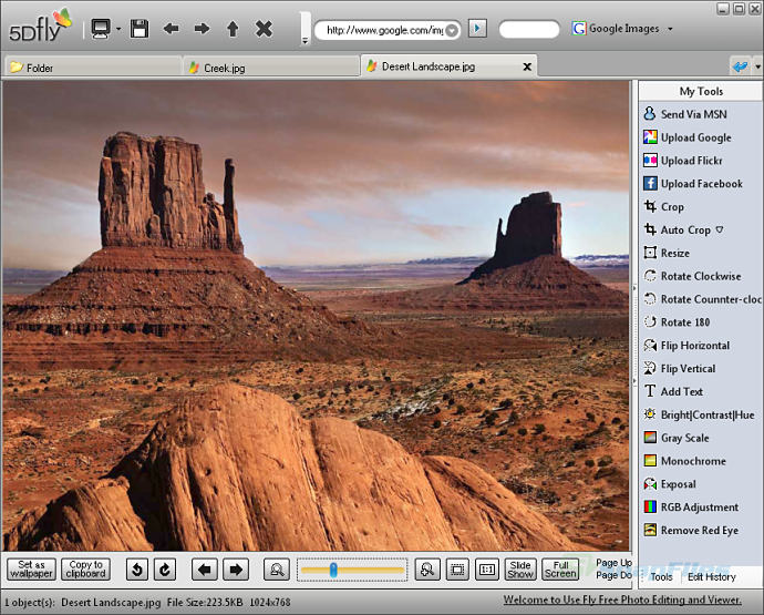 screenshot of Fly Free Photo Editing and Viewer