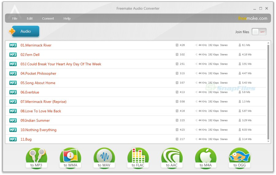 screen capture of Freemake Audio Converter