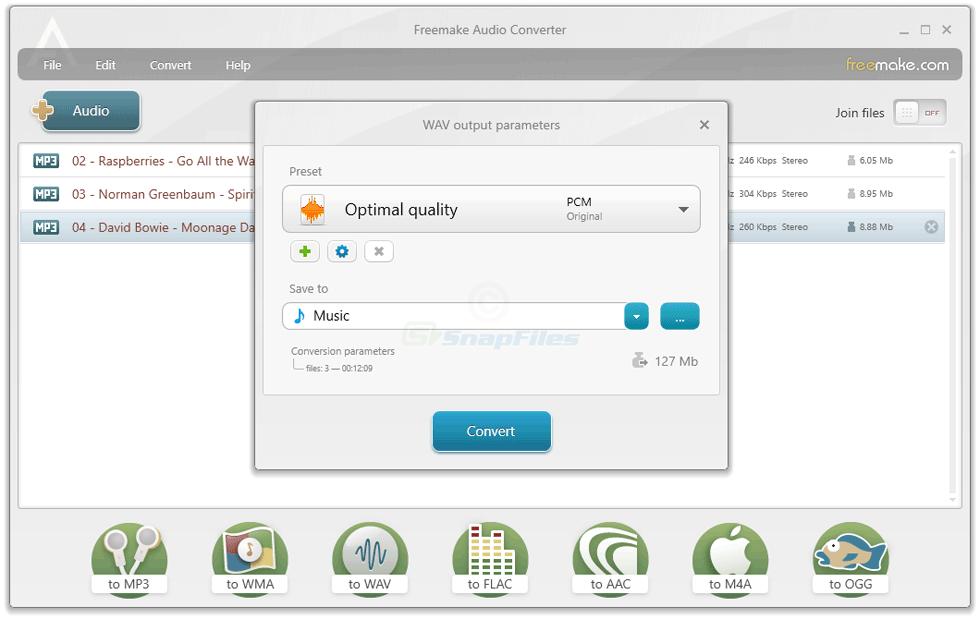 screenshot of Freemake Audio Converter