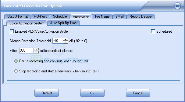 screenshot of Focus Mp3 Recorder