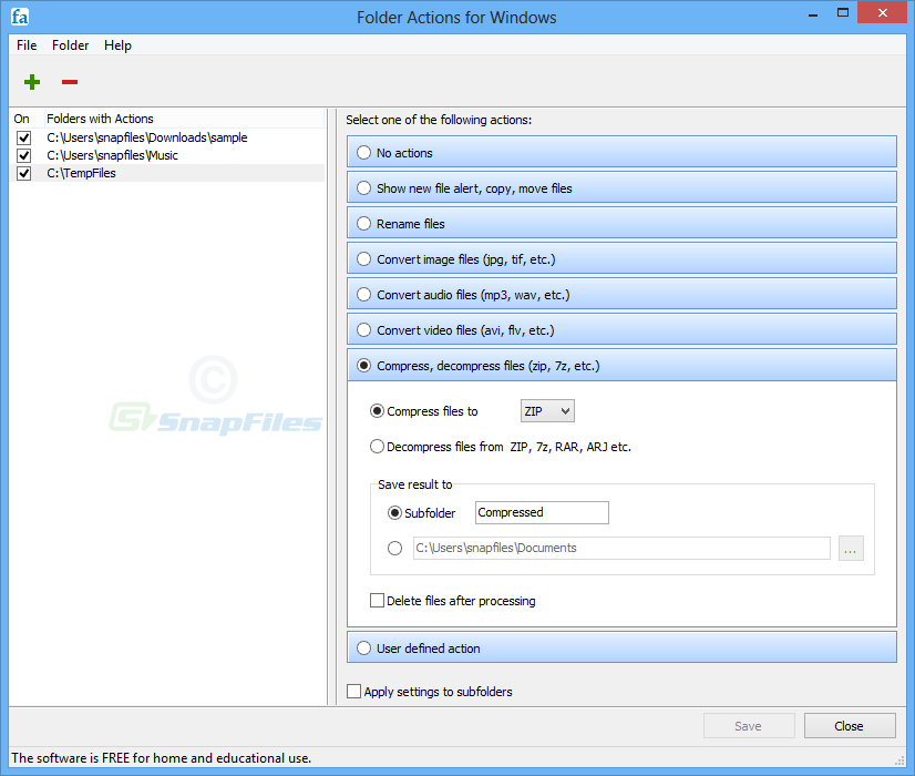screenshot of Folder Actions