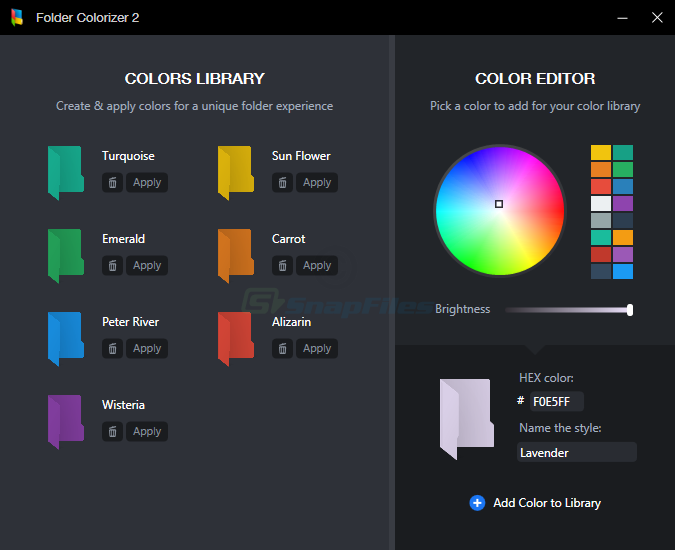 screenshot of Folder Colorizer