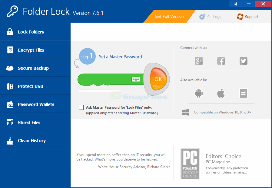 screen capture of Folder Lock