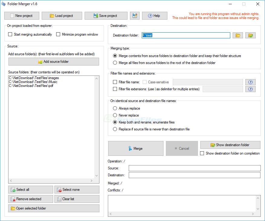 screen capture of Folder Merger