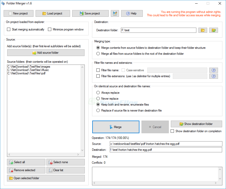 screenshot of Folder Merger