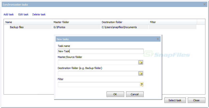 screenshot of Saleen Folder Sync