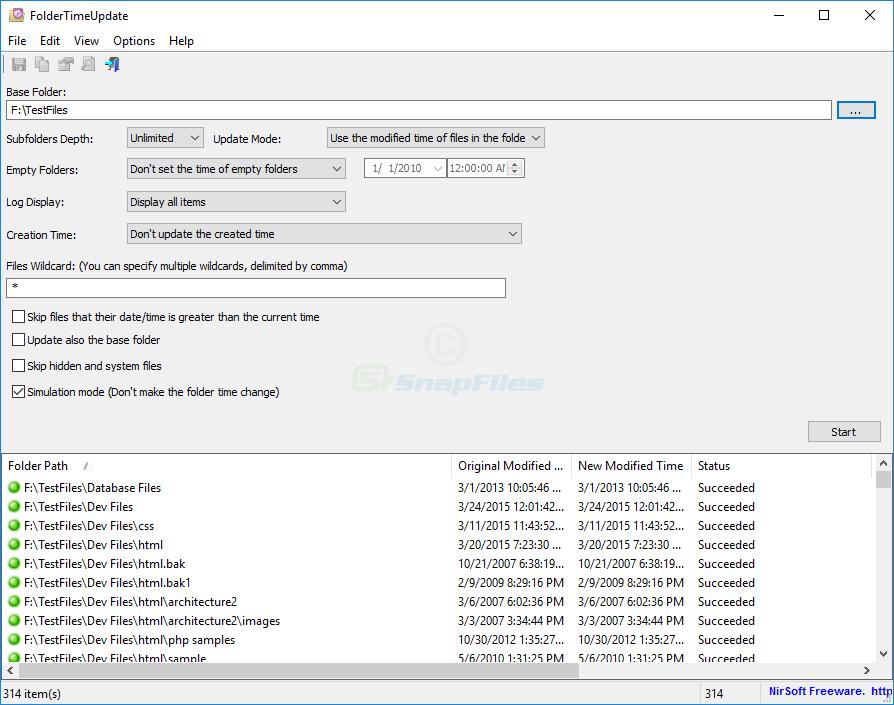 screen capture of FolderTimeUpdate
