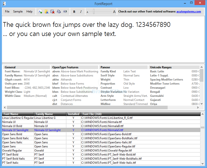 screen capture of FontReport Lite