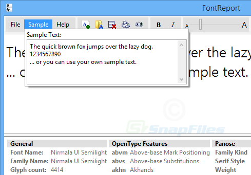 screenshot of FontReport Lite