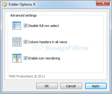 screen capture of Folder Options X