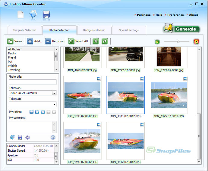 screenshot of Fortop Album Creator
