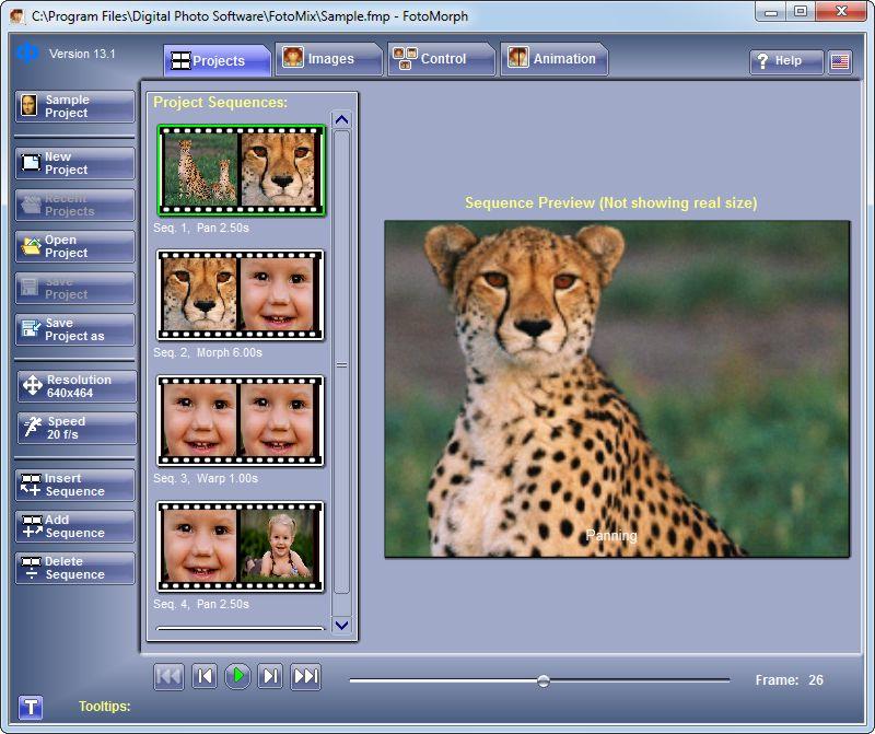 screen capture of FotoMorph