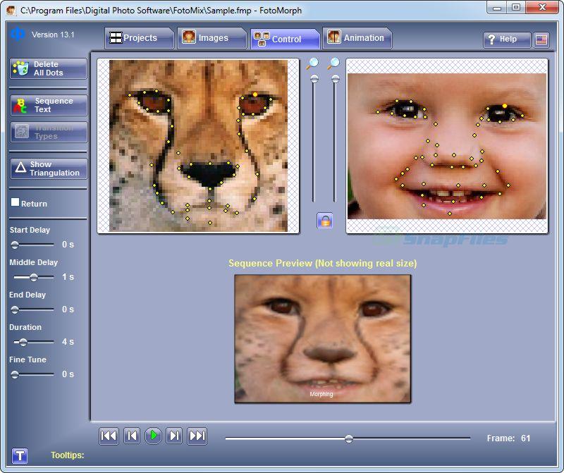 screenshot of FotoMorph