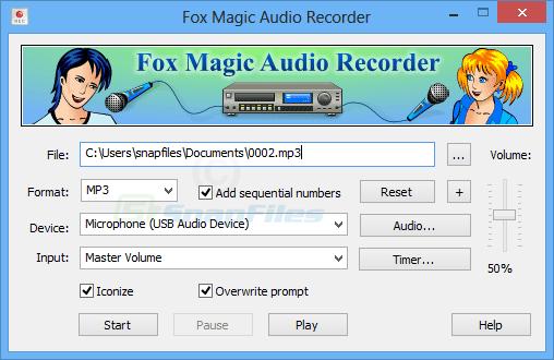 screen capture of Fox Magic Audio Recorder