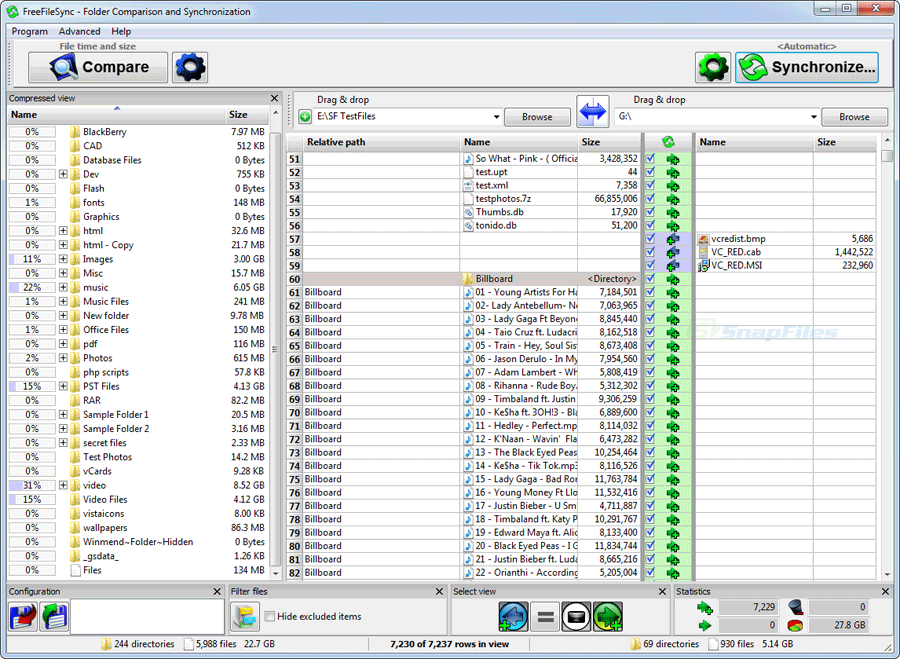 screen capture of FreeFileSync
