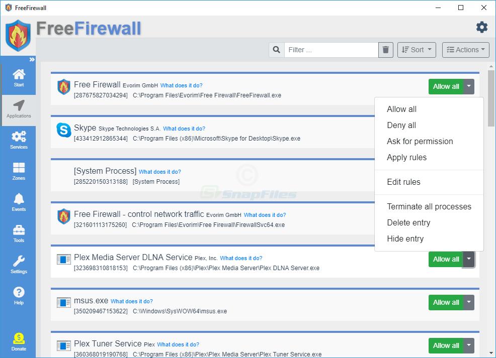 screenshot of Evorim Free Firewall