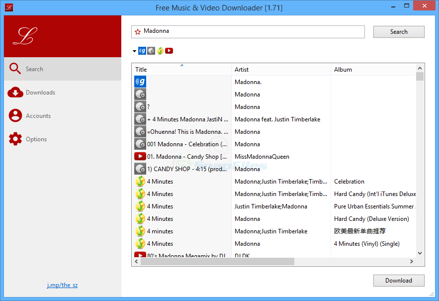 screen capture of Free Music and Video Downloader