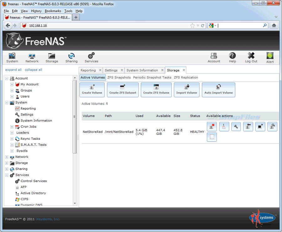 screen capture of FreeNAS