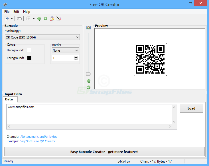 screen capture of Free QR Creator