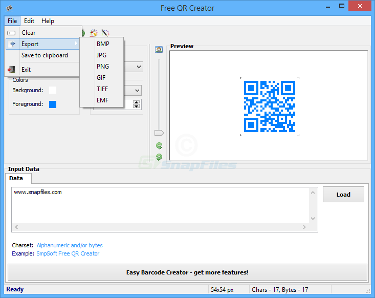 screenshot of Free QR Creator