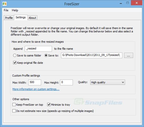 screenshot of FreeSizer